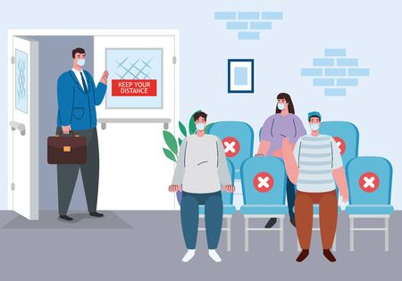 social distance in the waiting room, people wearing medical mask, prevention coronavirus covid 19 vector illustration design