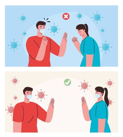 social distancing done in the wrong and correct way, people keeping safe distance, prevention coronavirus covid 19 vector illustration design
