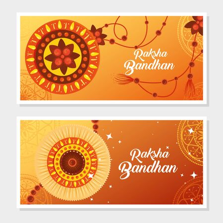 greeting cards set for raksha bandhan, indian festival for brother and sister bonding celebration, the binding relationship vector illustration design