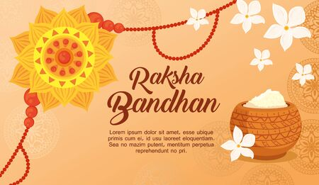greeting card with decorative rakhi for raksha bandhan and powder, indian festival for brother and sister bonding celebration, the binding relationship vector illustration design Vettoriali