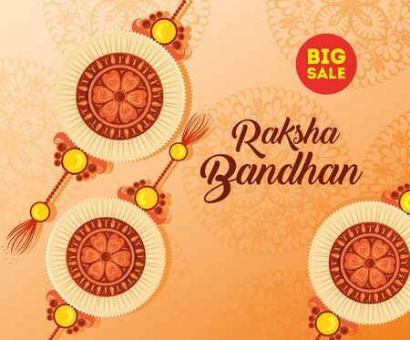 greeting card with decorative set of rakhi for raksha bandhan, indian festival for brother and sister bonding celebration, the binding relationship vector illustration design Archivio Fotografico - 149770062