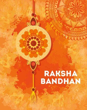 greeting card with decorative rakhi for raksha bandhan, indian festival for brother and sister bonding celebration, the binding relationship vector illustration design