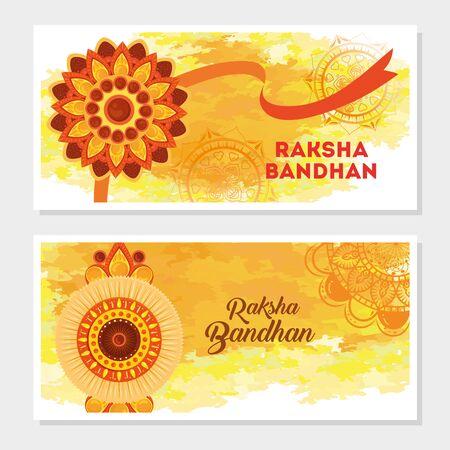 greeting cards set for raksha bandhan, indian festival for brother and sister bonding celebration, the binding relationship vector illustration design