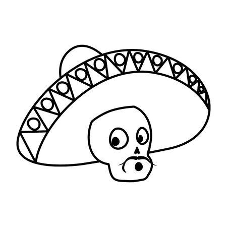 mariachi skull playing guitar comic character vector illustration design Vectores