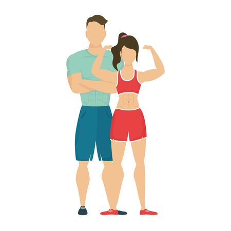 young athletes couple characters healthy lifestyle vector illustration design