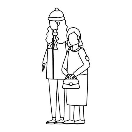 cute grandmother with daughter using christmas hat vector illustration design Ilustración de vector