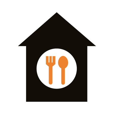 house with fork and spoon delivery service silhouette style vector illustration design
