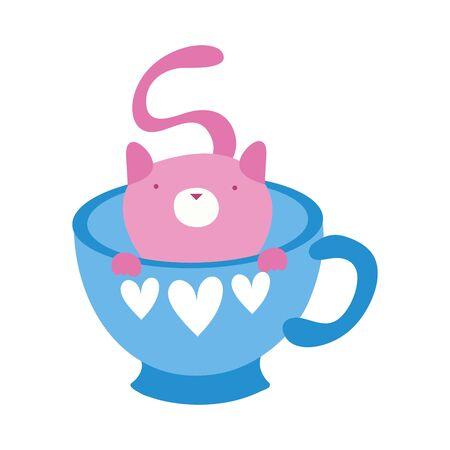 cute little cat in teacup vector illustration design