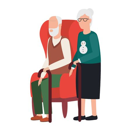 grandmother and grandfather seated in sofa characters vector illustration design