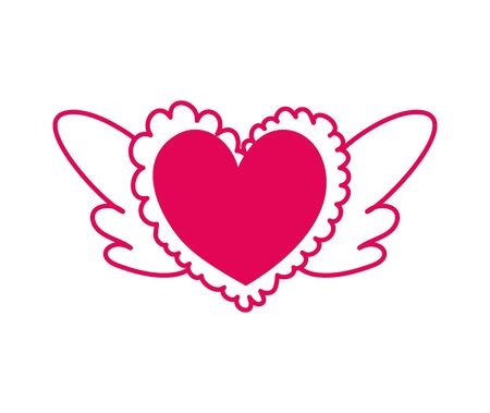 heart love with wings icon vector illustration design Çizim