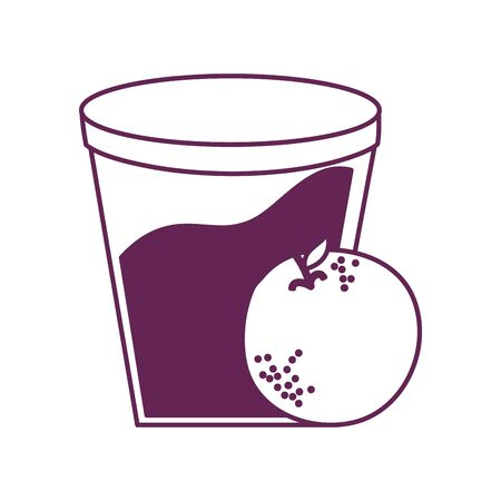orange citrus fruit with cup vector illustration design