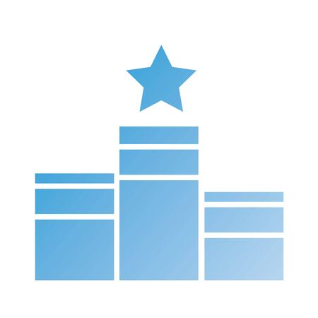 podium with star silhouette style icon vector illustration design