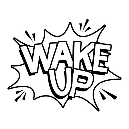 wake up word pop art style vector illustration design