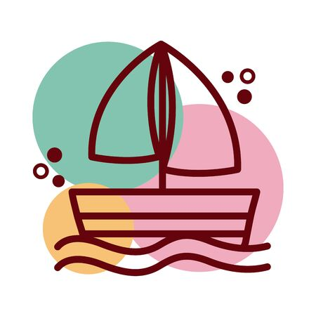 sailboat ship line and color style icon vector illustration design