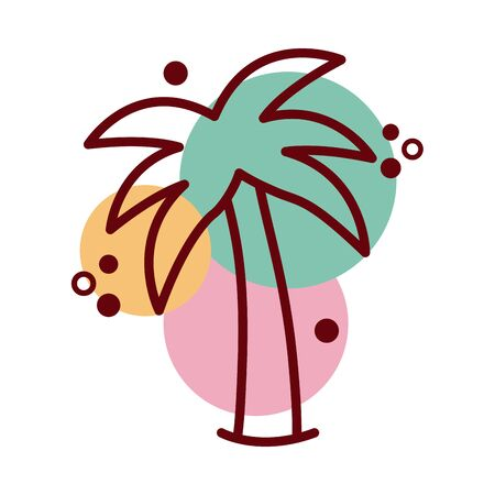 tree palms summer line and color style icon vector illustration design