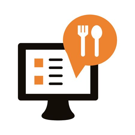 desktop with fork and spoon delivery service silhouette style vector illustration design
