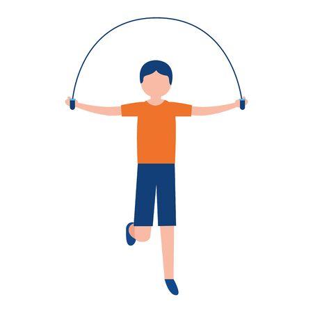 sporty man jumping rope activity vector illustration