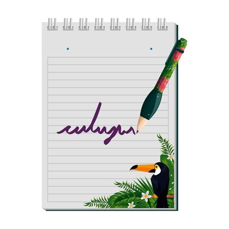 notepad and pen with tropical fauna print vector illustration design
