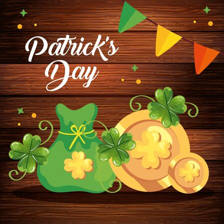 saint patrick day with coin and decoration vector illustration design icon Ilustracja