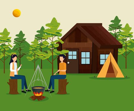 woman and man sitting in the tree trunk with cabin and camp to tourim adventure vector illustration