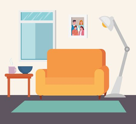 interior of the living room, cozy room with couch, window and decor accessories vector illustration design
