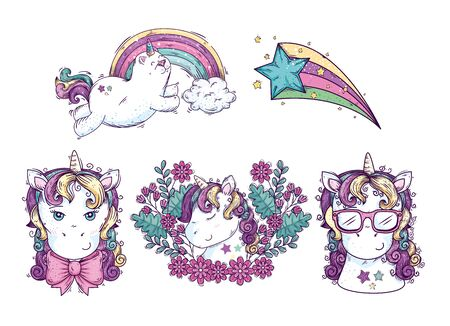 collection of cute heads unicorn with shooting star vector illustration design