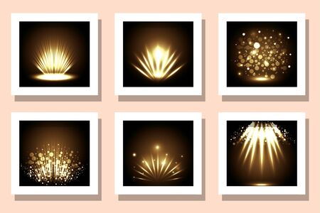 Yellow fireworks frames set design, Celebration festival event holiday party anniversay explosion and festive theme Vector illustration