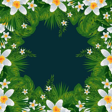 exotic tropical flowers and leaves pattern vector illustration design