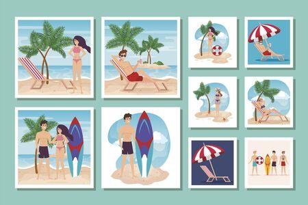 bundle of summer scenes with people vector illustration design Vectores