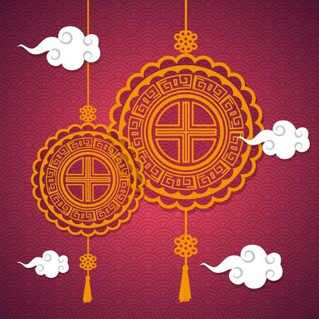 chinese decoration hanging with clouds over pink background, mid autumn festival, vector illustration Vettoriali