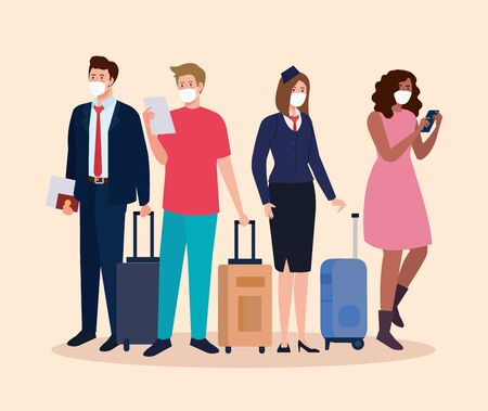 Stewardess and people with medical masks and bags design, Cancelled flights travel and airport theme Vector illustration
