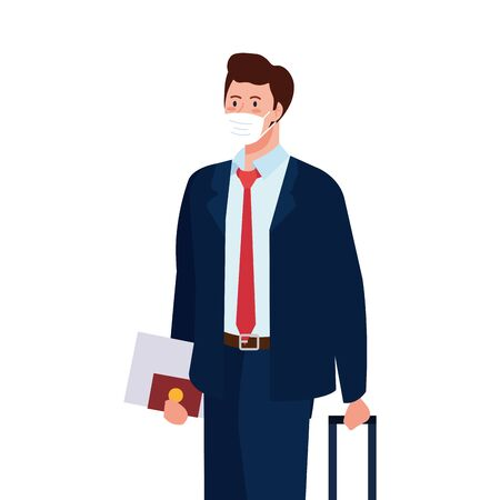 Man with medical mask and bag design, Cancelled flights travel and airport theme Vector illustration