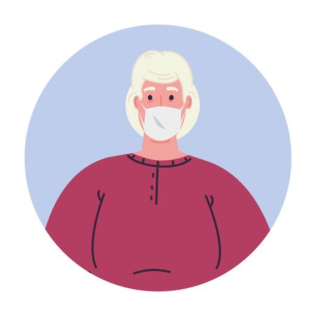 old woman avatar with mask design of medical care and covid 19 virus theme Vector illustration