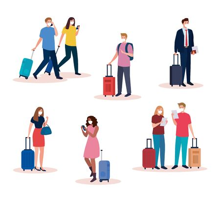 people with medical masks and bags design, Cancelled flights travel and airport theme Vector illustration