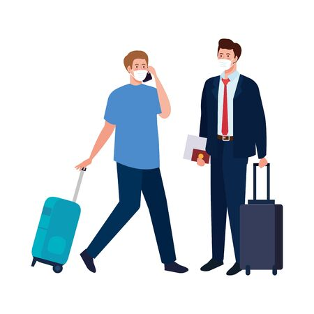 men with medical masks and bags design, Cancelled flights travel and airport theme Vector illustration