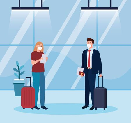 woman and man with medical masks and bags design, Cancelled flights travel and airport theme Vector illustration