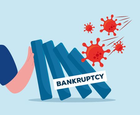 arm with banner design of bankruptcy and covid 19 virus theme Vector illustration Vettoriali