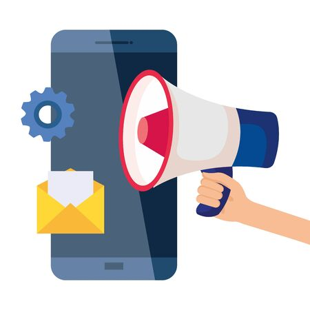 smartphone megaphone envelope and gear design, Digital marketing and ecommerce theme Vector illustration
