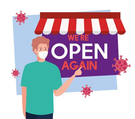 open again after quarantine, reopening of shop, man with label of we are open again vector illustration design