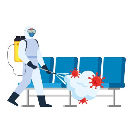 Man with protective suit spraying airport chairs with covid 19 virus design, Disinfects clean and antibacterial theme Vector illustration