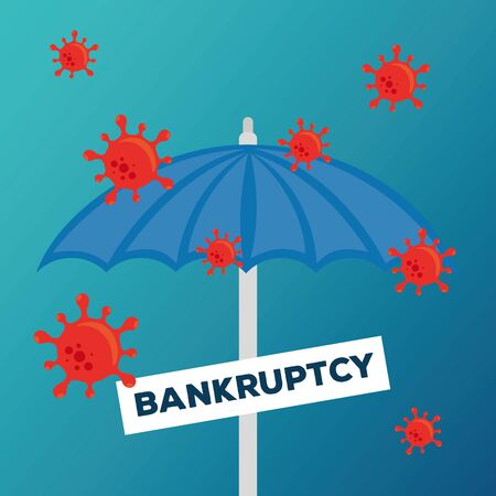 umbrella with banner design of bankruptcy and covid 19 virus theme Vector illustration