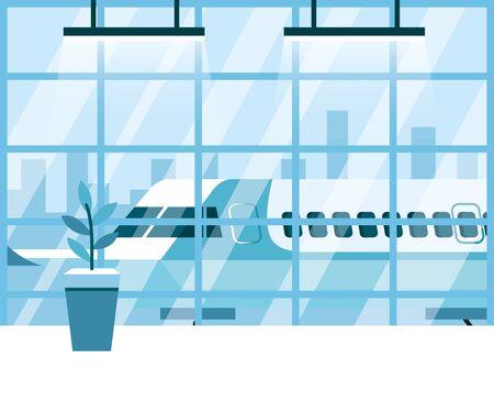 airport, interior waiting hall, departure lounge modern terminal vector illustration design