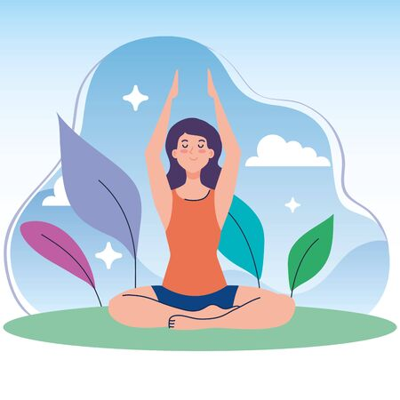 woman meditating in nature and leaves, concept for yoga, meditation, relax, healthy lifestyle vector illustration design