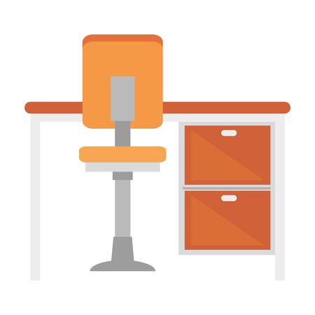 office furniture seat and table, wooden desk, chair with wheels vector illustration design Vectores