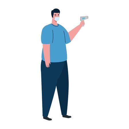 covid 19 coronavirus, man holding infrared thermometer to measure body temperature vector illustration design
