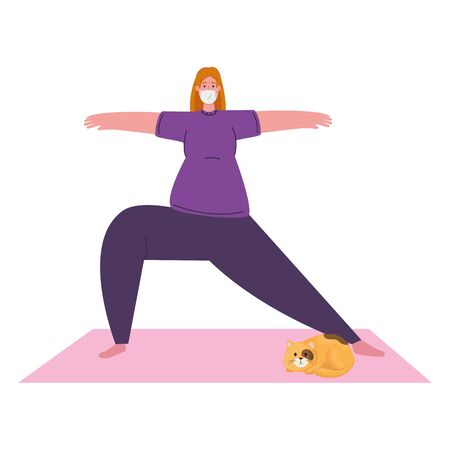 exercise at home, woman practicing exercise, using the house as a gym vector illustration design