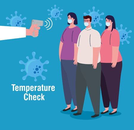 covid 19 coronavirus, hand holding infrared thermometer to measure body temperature, people check temperature vector illustration design