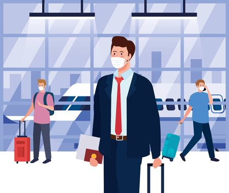 men wearing medical protection mask in airport terminal, traveling by airplane during coronavirus pandemic, prevention covid 19 vector illustration design