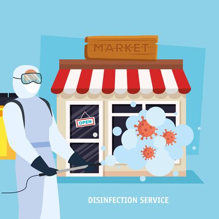 Man with protective suit spraying market with covid 19 virus design, Disinfects clean and antibacterial theme Vector illustration Vector Illustratie