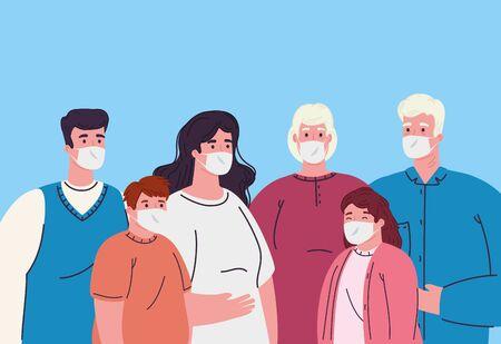 family wearing medical mask for prevent coronavirus covid 19 vector illustration design